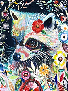 DIY Colorful Racoon Diamond Painting, Square Full Drill Diamond Painting Kit for Adults, Animal 5D Diamond Painting, 5D Diamond Painting kit, for Home Wall Decor, by Number Kits (15.8X19.7 inch)
