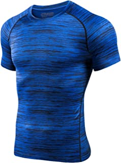 MTSCE Men's Athletic Compression Shirts Quick Dry Short Sleeve Fitness Running T-Shirts(XXL Blue)