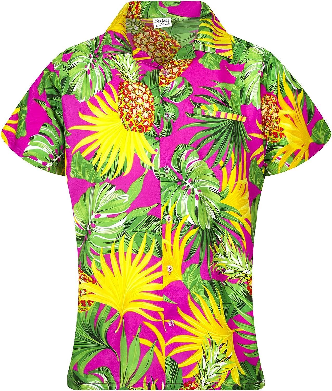 KING KAMEHA Funky Hawaiian Blouse Shirt, Shortsleeve, Print Pineapple Leaves, Pink, L