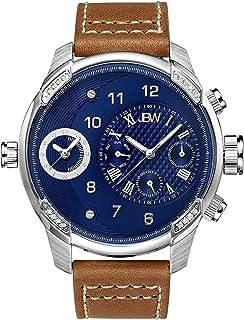 ساعة جيه بي دابليو G3 رجال 16 دايموندز زرقاء بسوار من الجلد- J6325E