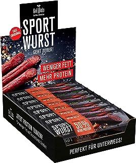 Grillido Sportwurst Rind&Chili 25er Pack | Die Beef Jerky Alternative ohne Zucker | 40% Eiweiß und nur 2,9g Fett pro Wurst
