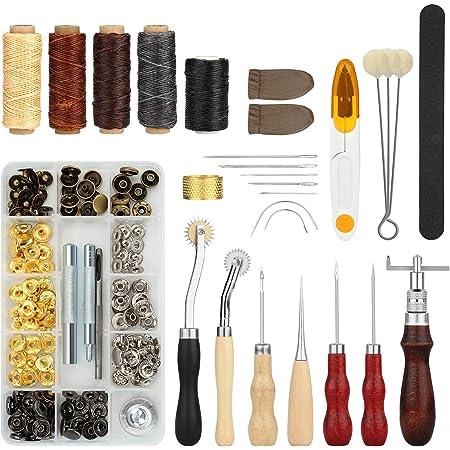 Fixm Kit Couture pour Le Cuir 28 pcs, Set de 28 Outils pour Coudre Le Cuir avec Poinçon, Rainette, Fil à Coudre Ciré, des à Coudre et Autres Accessoires, Ensemble d'outils de Couture à la Main