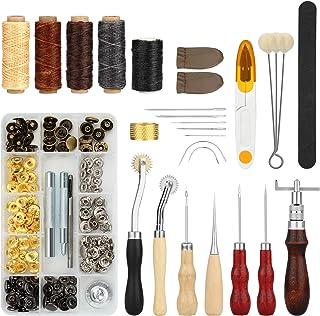 Kit Couture pour le Cuir 28 pcs, Set FIXM de 28 outils pour Coudre le Cuir avec Poinçon, Rainette, Fil à Coudre Ciré, des ...