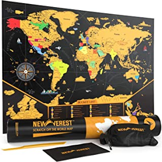 NEWVEREST Scratch Off Map of The World, Detailed Travel Art Poster, Fits 17 x 24 inches Frame, Comes with Scratch Tool, 20 Push Pins, 4 Stickers, Cleaning Cloth, Carry Bag + Gift Tube