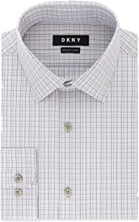 DKNY Men's Classic/Regular Fit Stretch Purple Check Dress Shirt (Purple, 18X34-35)