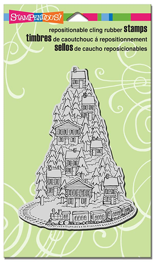STAMPENDOUS Cling Rubber Stamp, Hill Top Train ?