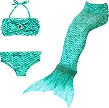Cola de Sirena para Natación Traje de Baño 3pcs Mermaid Bikini Establece para Niña Disfraz de Sirena Princesa Cosplay Conjuntos