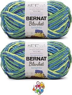 Bernat Blanket Brights Yarn, Super Bulky 6, Big Ball 10.5 Oz, Blue Flash 2-Pack Bundle with Bella's Crafts Stitch Markers