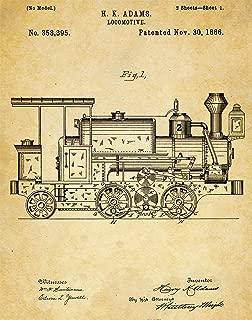Train Locomotive Patent Wall Art Print - one (11x14) Unframed - wall art decor for locomotive lovers