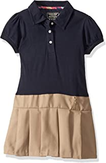 Girls' Polo Dress with Puff Sleeves and Pleated Skirt