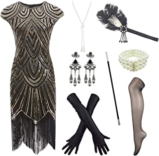 IMEKIS Women Flapper Dress Vintage 1920s Style Sleeveless V-Neck Sequin Embellished Beaded Fringe Wedding Cocktail Evening Dresses Art Deco Great Gatsby Theme Party Prom Dance Ball Gown