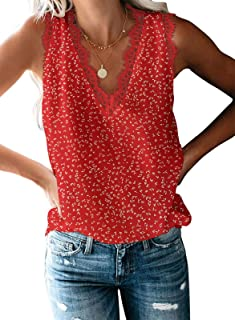 VIISHOW Women's V Neck Lace Trim Casual Tank Tops Sleeveless Floral Printed Chiffon Blouses Shirts