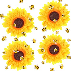 36 Pieces Resin Bee Decor Resin Honey Bee Decor Bee Shaped Craft Embellishment with 4 Pieces Artificial Sunflower Head Silky Yellow Sunflower Small Artificial Sunflower for Party Home Wedding Decor