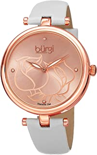 Burgi Diamond Accented Rose Dial Watch - 4 Diamond Hour Markers On Genuine Leather Strap - BUR151