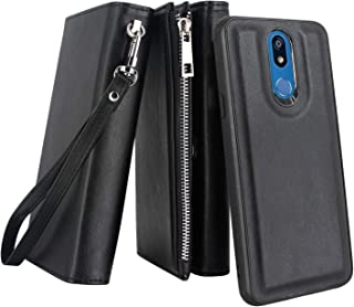 LG K12 Plus/Xpression Plus 2/ Harmony 3/ Solo LTE Case, Lacass Premium Leather Flip Zipper Wallet Case Cover Stand Feature with Card Holder and Wrist Strap for LG K40 LMX420 (Detachable Black)