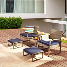 LOKATSE HOME 5-Piece Wicker Outdoor Conversation Set Patio Furniture PE Rattan All Weather Cushioned Chairs Balcony Porch ...
