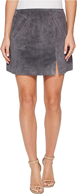 Grey Suede Mini Skirt in Star Gazer