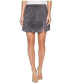 Grey Suede Mini Skirt in Star Gazer