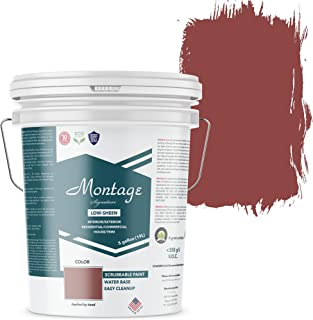 Montage Signature Interior/Exterior Eco-Friendly Paint, Brick Red – Low Sheen, 5 Gallon