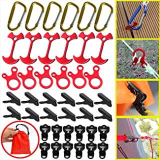 BSGB 43PCS Aluminum Alloy Fish Bone Anchor Deck Plank Board Tent Stakes D Carabiner Wind Rope Buckle 3 Hole Guyline Adjuster Tent Cord Rope Tensioner Alligator Camping Tent Awning Tarp Clips