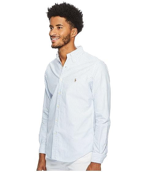 Polo larga blanco Lauren Oxford Ralph manga deportiva camisa azul de a7qwPa