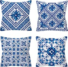 JMbeauuuty 4 Pack Square Cotton Blue Pillow Covers Cushion Cover Indoor Outdoor Sofa Home Pillowcases 18 X 18 Inches
