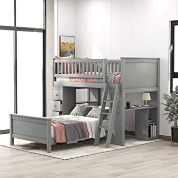 Amazon Com Twin Over Twin Bunk Bed With Storage Drawers And Stairs For Kids Baysitone Loft System Twin Over Twin Bunk Bed Wood With Ladder Gray Kitchen Dining