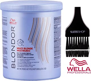 Wella BLONDOR MULTI BLONDE Dust-Free POWDER LIGHTENER for Multiple Clear Blonde Results, Tri-Lightening Complex (with Sleek Tint Applicator Brush) (28.2 oz/800 g - LARGE TUB)
