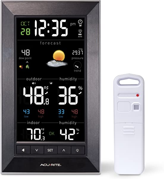 AcuRite 01121M Vertical Wireless Color Weather Station Dark Theme With Temperature Alerts