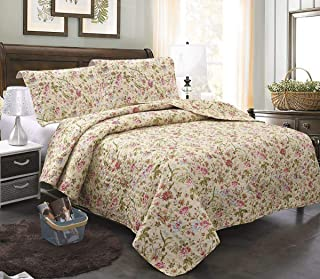MERRY HOME Quilt Set Queen Size, 3-Piece Bedspread Coverlet with Shams, Soft Brushed Microfiber, Fade and Stain Resistant ...