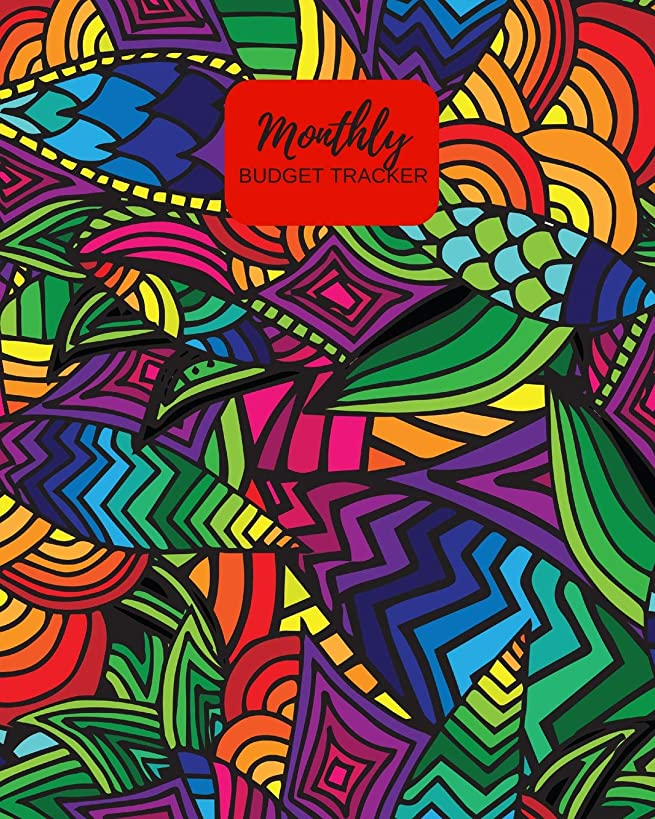 Monthly Budget Tracker: Personal Income & Expense Notebook Organizer | Includes Savings Goals, Fixed & Other Expenses, Monthly & Yearly Calendar ... Inches Colorful Abstract Design (Budgeting)