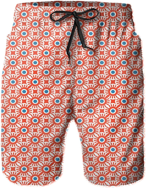 Vivid Colored Mosaic of Circular Shapes and Dots Retro Modern Style Drawstring Waist Beach Shorts for Men Swim Trucks Board Shorts with Mesh Lining,L