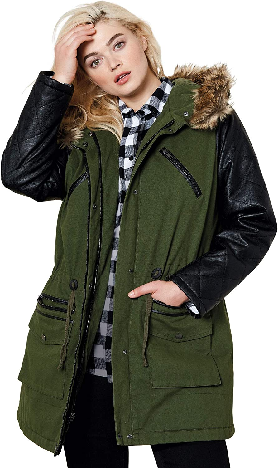 Free Shipping Cheap Bargain Gift ellos Women's Plus Size Popular shop is the lowest price challenge Quilted Faux Parka Jacket Sleeve Leather