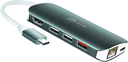 j5create USB-C 9-in-1 Multi Adapter Multi Adapter HDMI/Ethernet/USB 3.1, SD and MicroSD/PD 3.0 | 4K HDMI for MacBook | ChromeBook |USB-C Devices