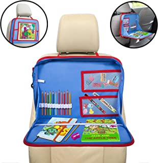lebogner Kids Car Seat Travel Tray, Backseat iPad Or Tablet Holder, Carry Bag with Storage Organizer Mesh Pockets and Shoulder Strap, On The Go Activity Lap Desk to Play, Eat, Or A Writing Surface