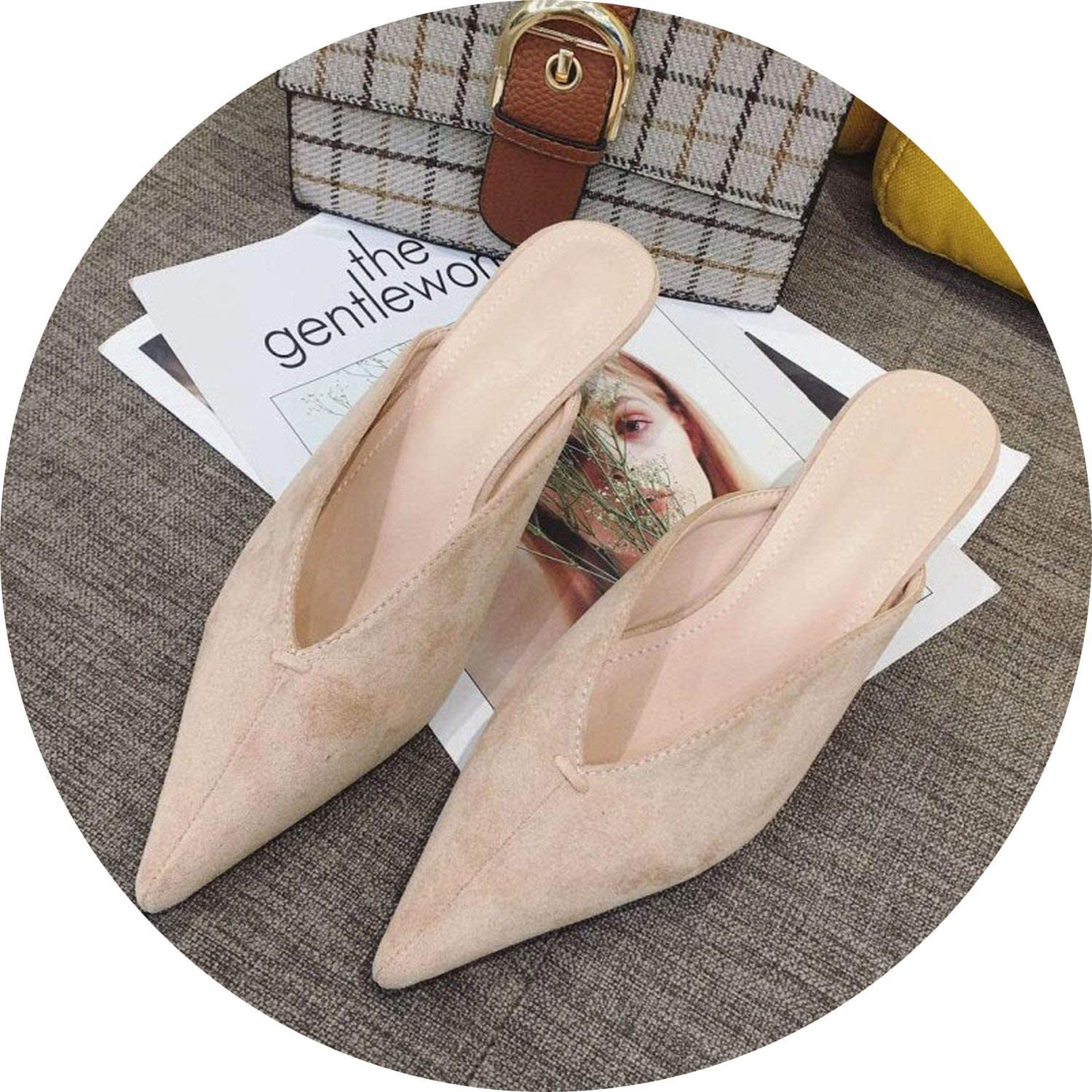 FINDYOU Nude Slippers Women Pointed Toe Slides Women Mules Small Heel Slippers Mules
