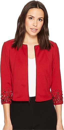 Embellished Sleeve Zip Front Jacket