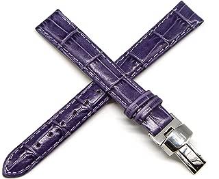 Lucien Piccard 14MM Purple Alligator Grain Genuine Leather Watch Strap 6.5