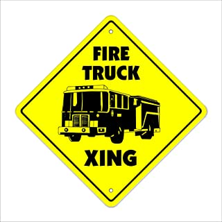 Firetruck Crossing Sign Zone Xing | Indoor/Outdoor | 12