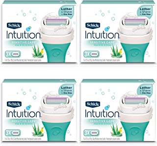 New Schick Intuition Sensitive Care moisturizing Razor Blade Refills for Women with Natural Aloe 12Count