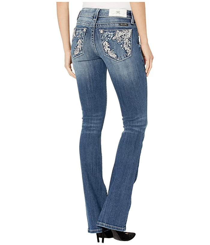 0575d0b07a1 Miss Me Floral Back Pocket Mid-Rise Bootcut Jeans in Dark Blue