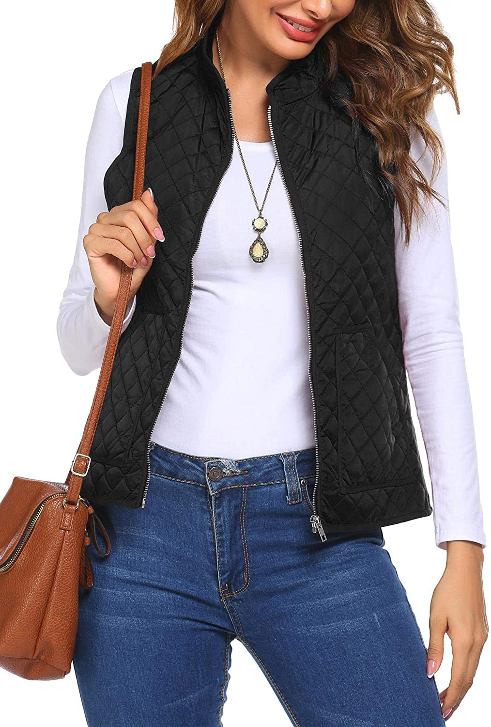 HOTLOOX Women's Quilted Vest Outwear Sleeveless Stand Collar Lightweight Zip Down Padded Puffer Gilet with Pocket S-XXL