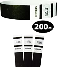 "Tyvek Wristbands - Goldistock Original Series Tuxedo Black 200 Count - ¾"" Arm Bands - Paper-Like Party Armbands - Heavier Tyvek Wrist Bands = Superior Events"