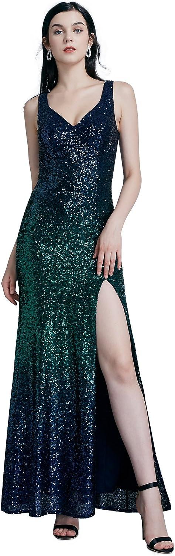 EverPretty Women Fashion Sequins Floor Length Vneck Evening Dresses 07345