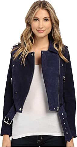 Blank NYC Blue Suede Moto Jacket in Deep Blue/Navy