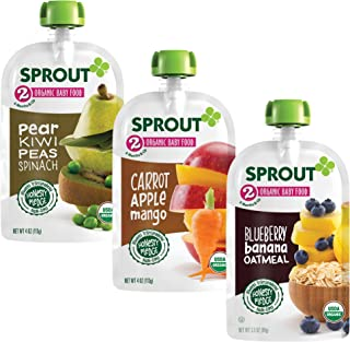 Sprout Organic Baby Food Pouches Stage 2 Sprout Organic Baby Food Variety Pack (Pack of 12), Carrot Apple Mango, Blueberry...