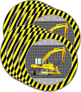 "Construction Trucks Birthday Party Supplies Large 9"" Plates 80pcs Value Pack"
