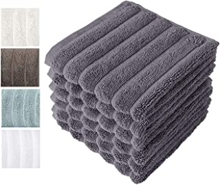Classic Turkish Towels Luxury Ribbed Washcloths - Soft Thick Jacquard Woven 6 Piece Bath Set Made with 100% Turkish Cotton (Grey, 13x13 Washcloths)