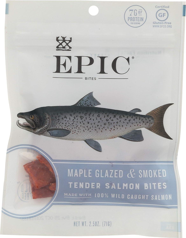 Epic Jerky Bites 100% Wild Alask Glazed Max 88% OFF Maple Low price Caught Smoked