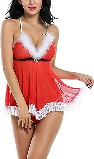 Womens Christmas Lingerie Red Santa Babydolls Chemises Set